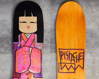 PISTACHE SKATE DECK (Hand Painted Kokeshi Geisha Art)