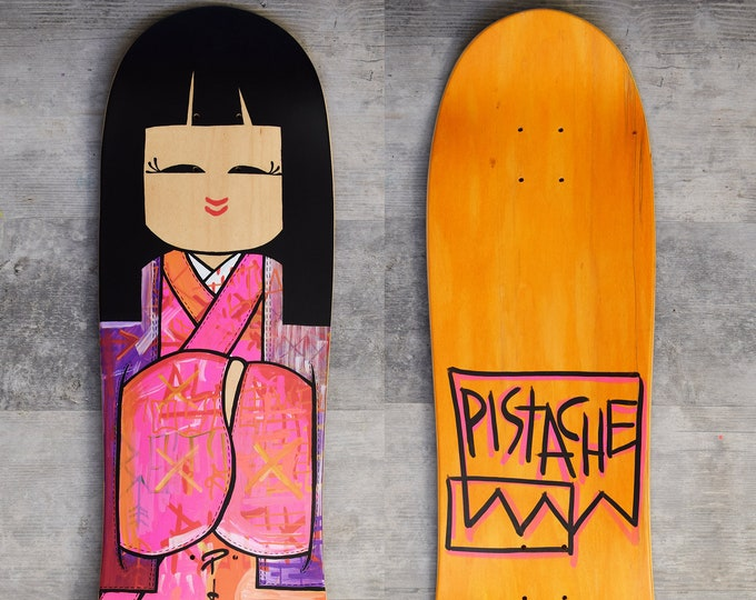 Featured listing image: PISTACHE SKATE DECK (Hand Painted Kokeshi Geisha Art)