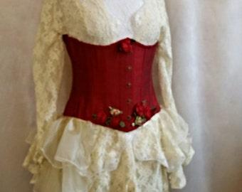 "SALE RED  SILK Corset 24"" Waist Underbust  Burlesque Lolita  By Ophelias Folly"