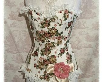 "SALE  FLORAL Corset 28"" Waist Cotton Overbust  Burlesque Lolita  Wedding By Ophelias Folly"
