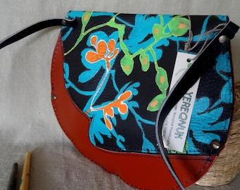 100% handmade painted leather purse