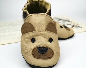Gift baby shoes Teddy Bear Beige Leather Soft Sole Baby Shoes Baby Moccasins Baby Shoes chaussons cuir b\u00e9b\u00e9 Unisex/' baby shoes 3