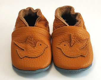 New Born Baby Shower Gift Soft Sole Leather Baby Shoes Toddler Truck Brown 0-6M