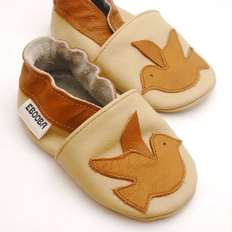 5210ad57caec3 Soft sole baby shoes Leather baby shoes, Infant boy, Newborn girl Gift,  Bird brown shoes, Krabbelschuhe, Lederpuschen, Ebooba, 1