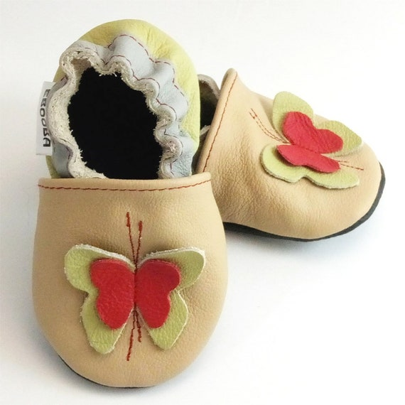 484969e0c9ba3 soft sole baby shoes leather infant gift butterfly olive beige 18 24  Lauflernschuhe Krabbelschuhe Lederpuschen chaussons ebooba BF-48-BE-4
