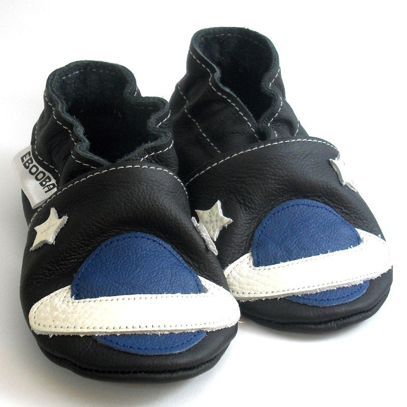 682ce9cce93f5 soft sole baby shoes leather infant gift space blue black 12 18 bebes  garcon fille Krabbelschuhe Lederpuschen chaussures ebooba SC-14-B-M-3