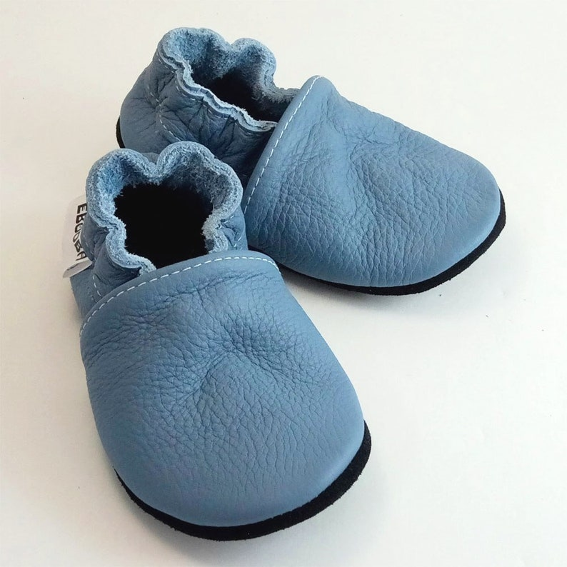 2b852d3bc11 Light Blue Leather Baby Shoes Baby Shoes Child soft sole