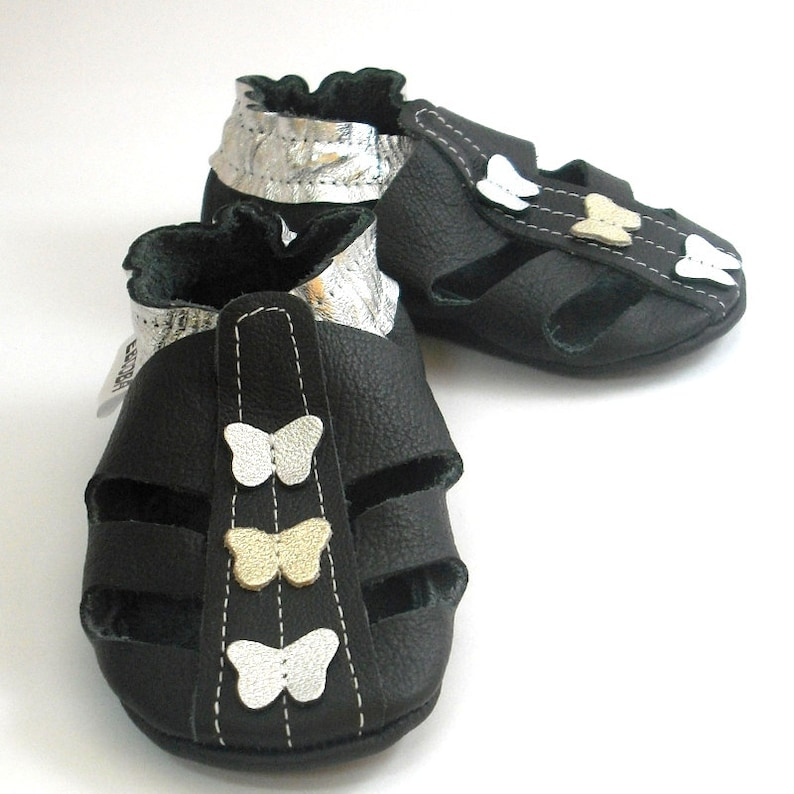 ea0fe008d93d3 soft sole baby shoes handmade infant gift sandals black silver 6-12m fille  cuir souple chaussons Krabbelschuhe porter ebooba SN-83-B-T-2