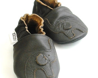 soft sole baby shoes infant handmade elephant dark brown 12 18 bebe garcon fille chaussons cuir souple pour chaussures  ebooba EL-37-DB-T-3