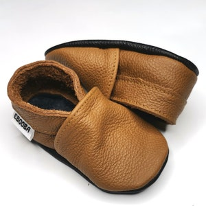 leather baby shoes soft sole baby shoes Brown suede baby moccasins soft baby booties baby shower gift toddler slippers