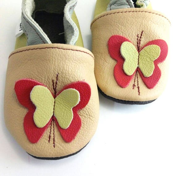 08f1b038eecd8 SALE! soft sole baby shoes leather infant gift butterfly red 0-6 months  Lauflernschuhe Krabbelschuhe Lederpuschen chaussons ebooba