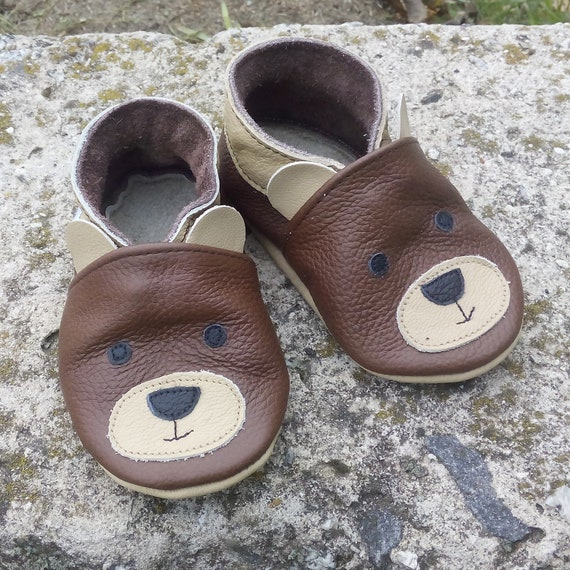 new soft sole leather baby shoes snowman black 6-12m