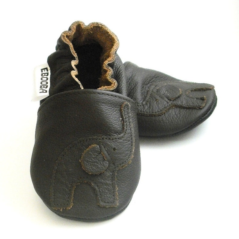 chaussures de sport c64f2 d5169 soft sole baby shoes infant handmade elephant dark brown 2 3 y bebe garcon  fille chaussons cuir souple pour chaussures ebooba EL-37-DB-T-5