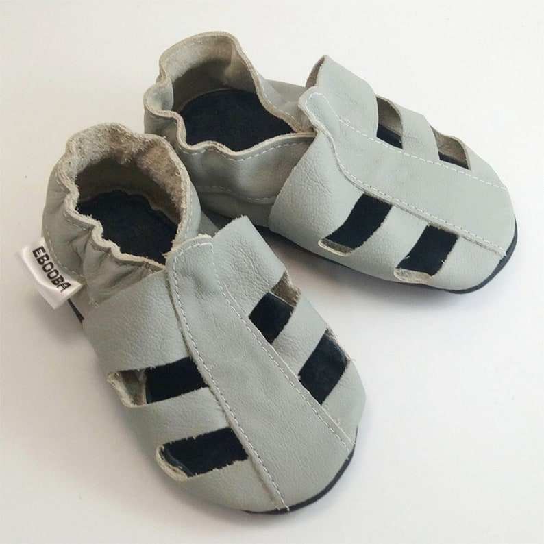264ef35f6 Gray baby sandals Leather baby shoes Soft sole sandals