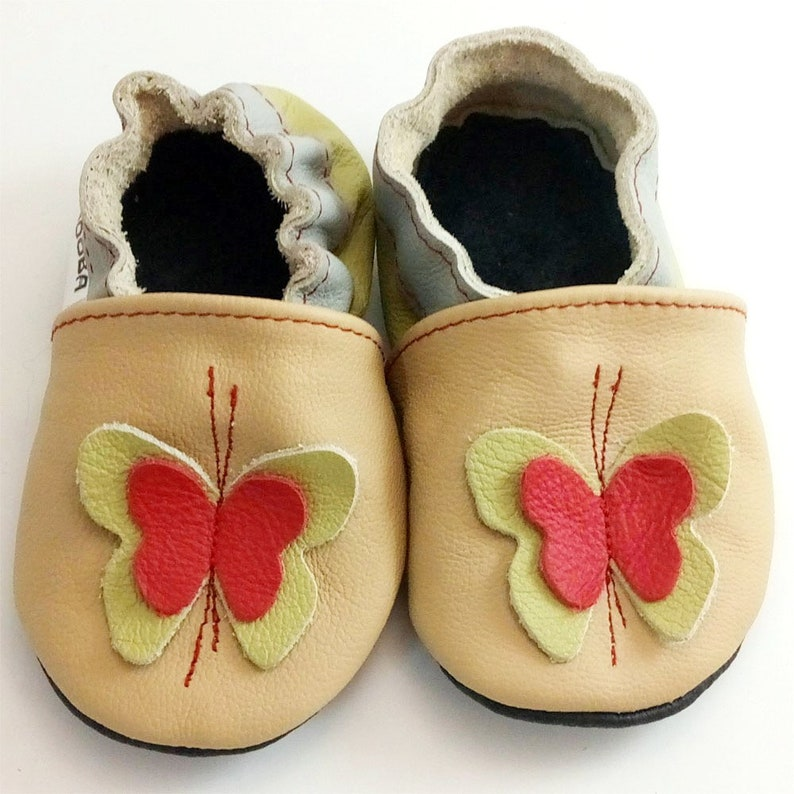 a46785fe45678 soft sole baby shoes leather infant gift butterfly olive beige 6 12  Lauflernschuhe Krabbelschuhe Lederpuschen chaussons ebooba BF-48-BE-2