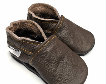 soft sole baby shoes leather infant girl dark brown 12 18 Lederpuschen chaussurese garcon fille Krabbelschuhe ebooba OT-13-DB-M-3