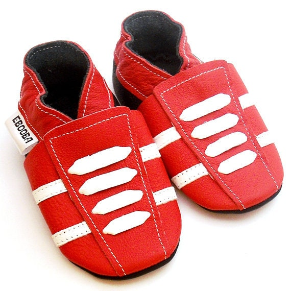 buy online f0581 643c0 Red Baby Shoes leather sneakers, Krabbelschuhe, Сhaussons bébé, Baby  Moccasins, Ebooba, size 18-24 Months