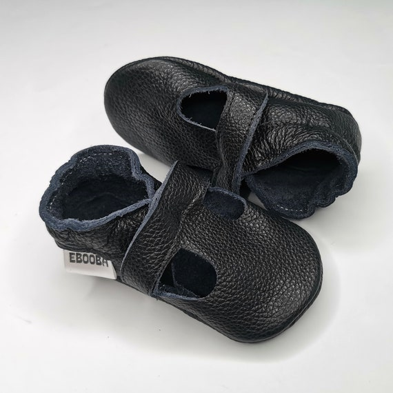 Baby sandals black leather Ebooba Soft