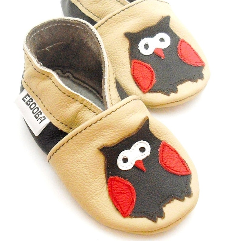 2a681126833f5 Owl baby shoes Soft sole leather shoes, infant Gift, Baby moccasins beige,  Lederpuschen, Chaussons fille, Chaussurese garcon, Ebooba, 6
