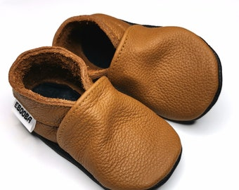 Baby Shoes Brown Leather, Baby Soft Sole Bootie, Baby Boy Shoe, Toddler Moccasins, Baby Slippers, Toddler Leather Shoes, 7