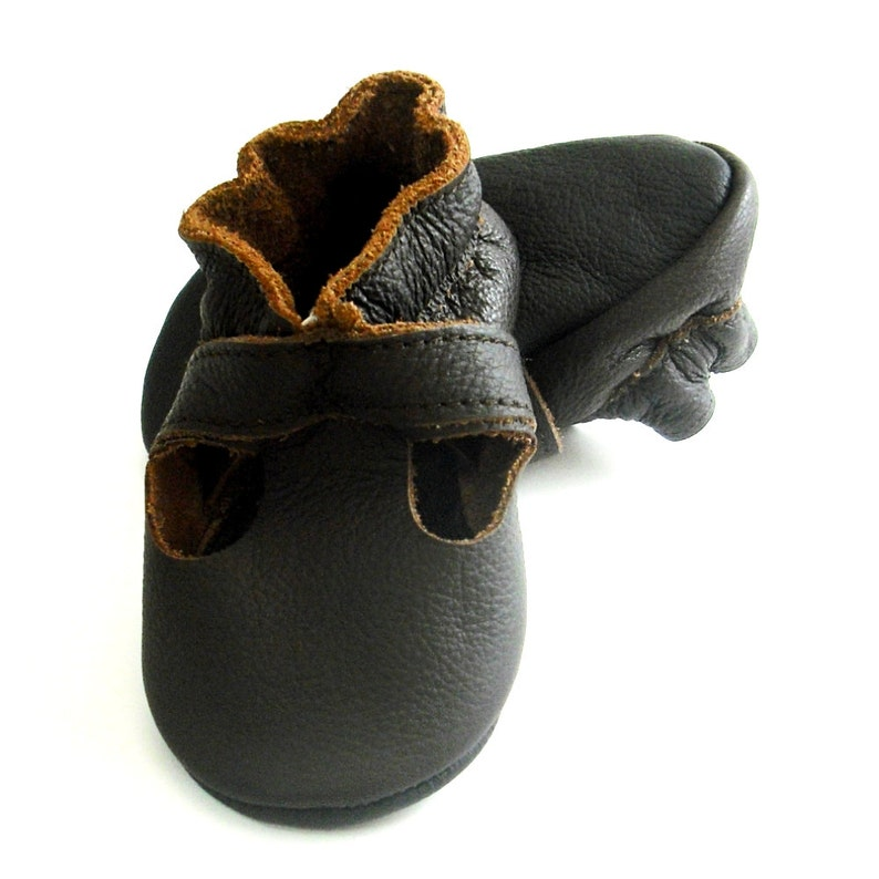 e37f655507916 Dark Brown Baby Shoes, Ebooba, Chocolate Leather Slippers, Baby Summer  Shoes, Baby Moccasins, Baby Crib Shoes, Leather Sandals, 1
