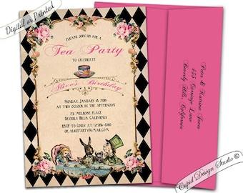 Elegant Alice In Wonderland Invitation Mad Hatter Tea Party Etsy