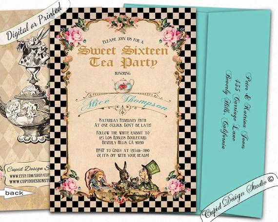 Alice In Wonderland Invitation Alice And Wonderland Wedding Invitations Mad Hatter Tea Party Invitation Alice Through The Looking Glass