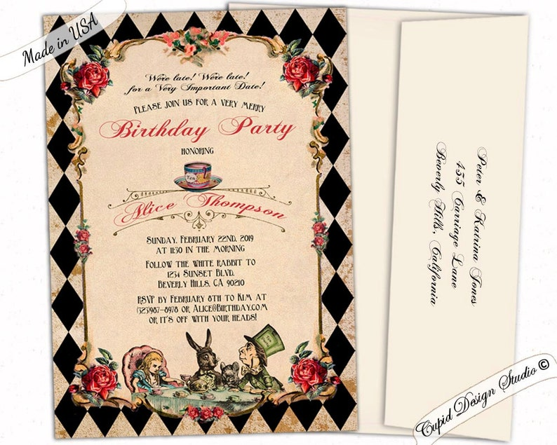 Alice in Wonderland birthday invitations for girls. Mad hatter image 0