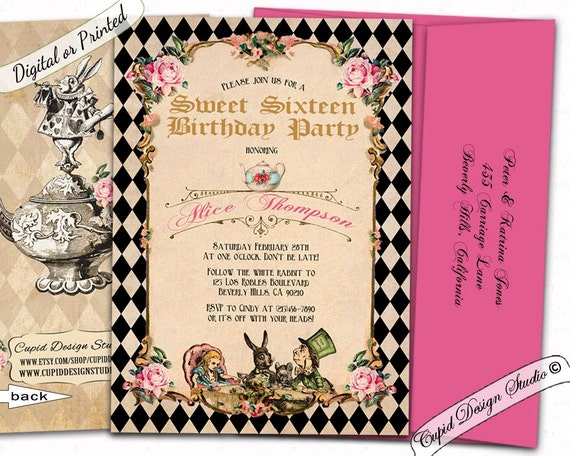 3c5b184c923 Alice in wonderland Sweet 16 invitations   Sweet 16 invites