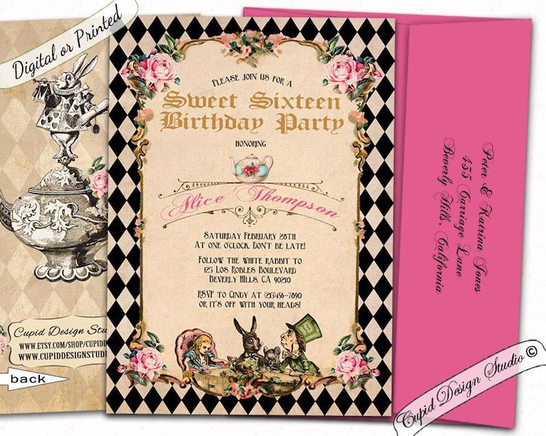 Alice in wonderland Sweet 16 invitationsSweet 16 invitesQuinceanera invitation16th birthday invitationsmad hatters tea party invitations