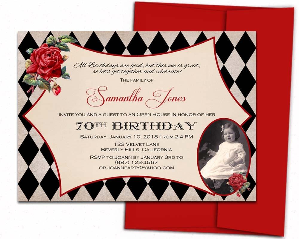 Adult birthday invitation. Printed birthday invitations. | Etsy