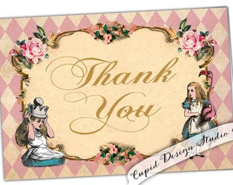 Alice in Wonderland Thank You cards. Tea party thank you cards. Pink thank you cards. Alice in Wonderland thank you. Printable file.