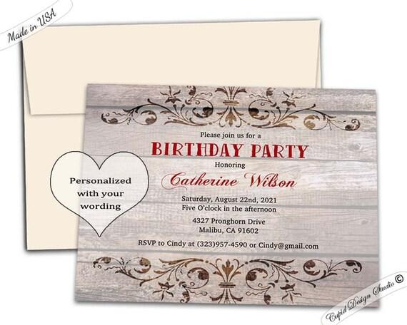 Elegant Rustic Birthday Party Invitation Western