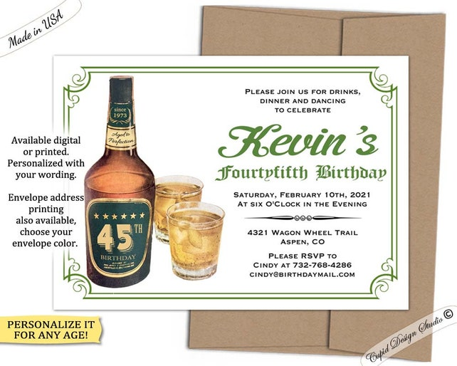 Vintage 40th Birthday Invitation Male 50th Whiskey Bottle 30th Invite Printable