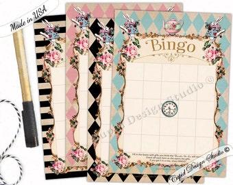 Alice in wonderland bridal shower bingo/Through the looking glass bridal bingo/Bingo cards/bridal shower bingo cards/Printable or printed.