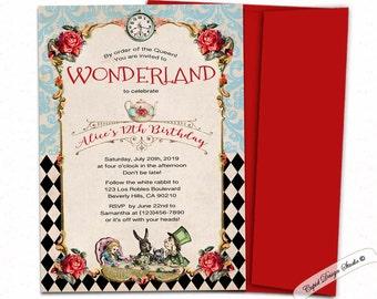 mad hatter birthday invitations/wonderland birthday invites/wonderland birthday invitation template/alice birthday party invitations.