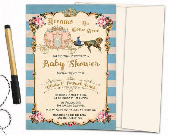 Once Upon A Time Baby Shower Invitation Cinderella Carriage Etsy