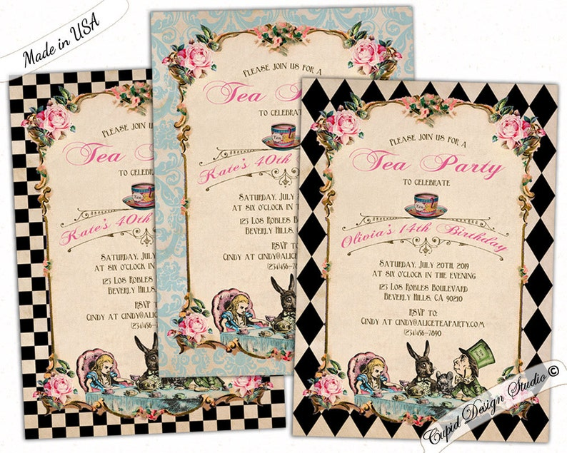 Alice In Wonderland Birthday Invitation Printable Mad Hatter Etsy