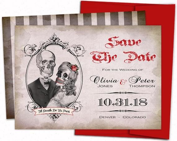 skull save the date gothic wedding invite Halloween wedding invitation