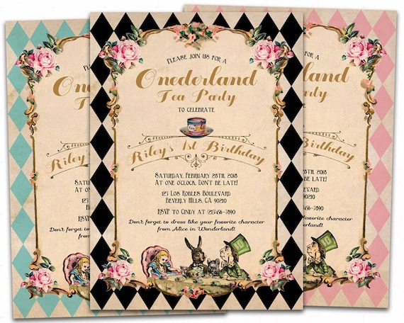 Alice In Onederland Birthday Invitation Mad Hatter Tea Party