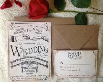 Elegant unique wedding invitation, Rustic wedding invitations, Vintage wedding invitation set, Vintage style wedding invites