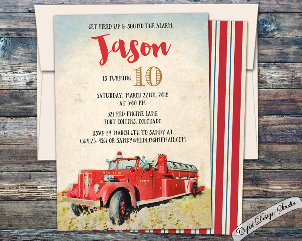 Vintage Firetruck Birthday invitation. Firetruck Birthday | Etsy