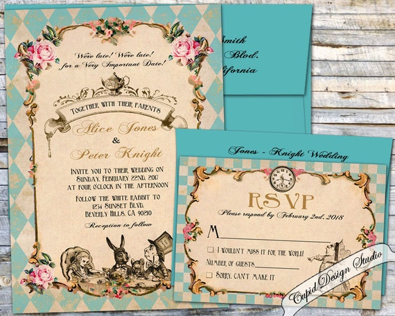 Alice In Wonderland Wedding Invitation Mad Hatter Tea Party Wedding Invitations Elegant Unique Wedding Invites Custom Wedding Invitations