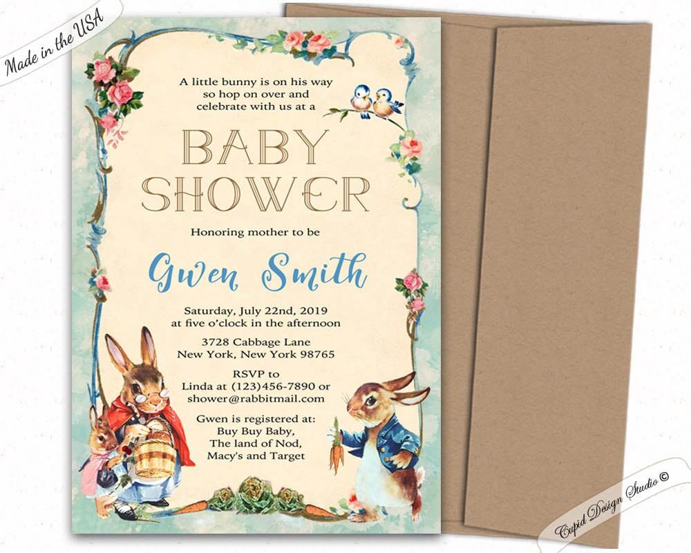 Peter Rabbit Baby Shower Invitation Peter Rabbit Invitations Etsy