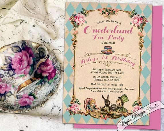 Printable alice in wonderland 1st birthday invitation printed etsy image 0 filmwisefo