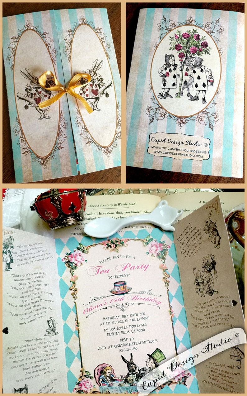 Mad hatter tea party invitation Alice and wonderland wedding invitations Alice in Wonderland invitation Alice through the looking glass