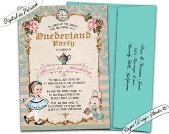Alice in wonderland 1st birthday invitation alice in alice in onederland invitation alice in wonderland first birthday alice in onederland birthday filmwisefo