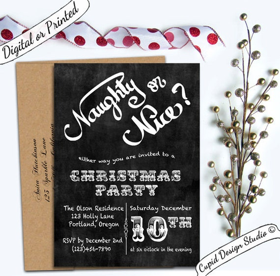 Naughty Or Nice Christmas Party Invitation Office Holiday Etsy