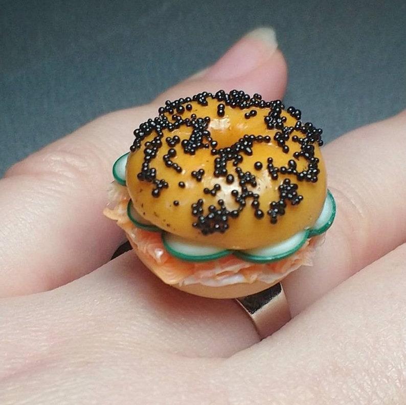 Salmon Cream Cheese Cucumber Bagel Ring Miniature Food image 0
