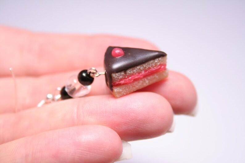 Dark Chocolate and Cherry Cake Slice Earrings Miniature Food image 0